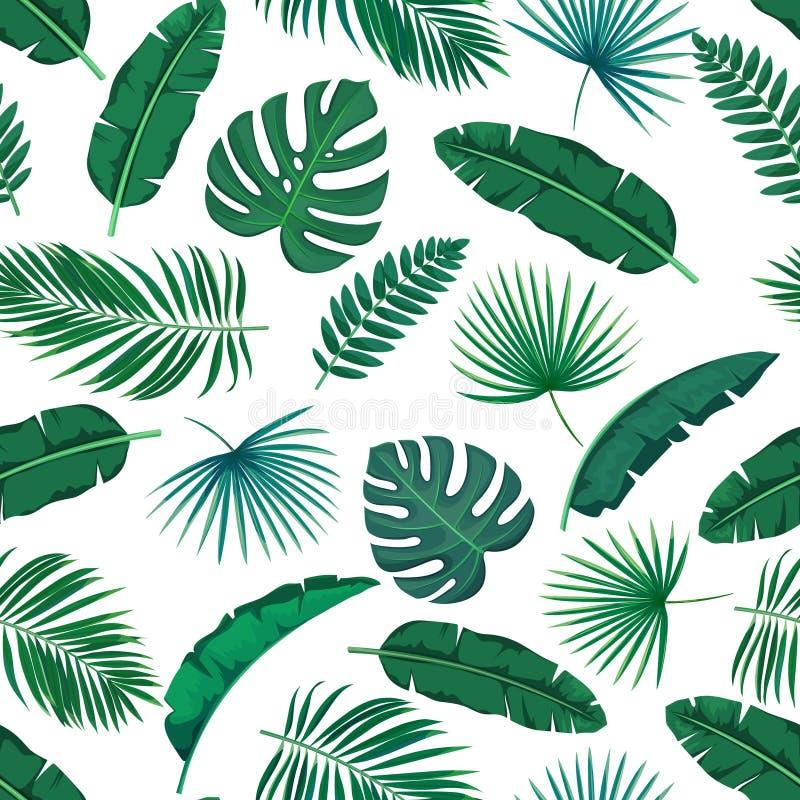 Tropisch bladeren naadloos patroon royalty-vrije illustratie