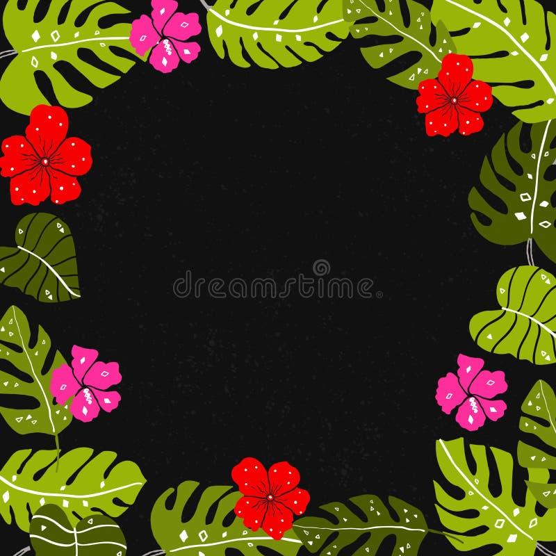 Tropisch bladerenkader met copyspace De heldere hand getrokken blad en hibiscus donkere achtergrond van bloemenar stock illustratie