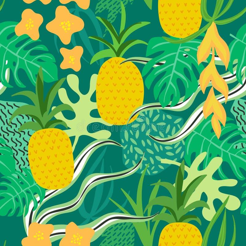 Tropisch Bloemen en Bladerenpatroon Ananassen Retro Achtergrond stock illustratie