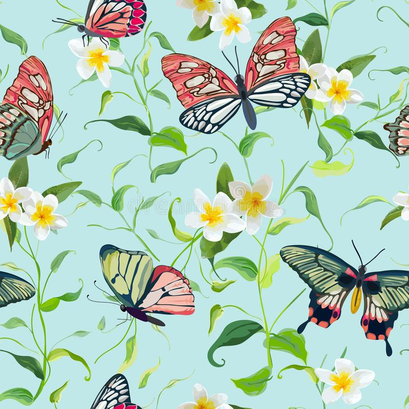 Tropisch Bloemen en Vlinders Naadloos Patroon Bloemenwildernis vector illustratie