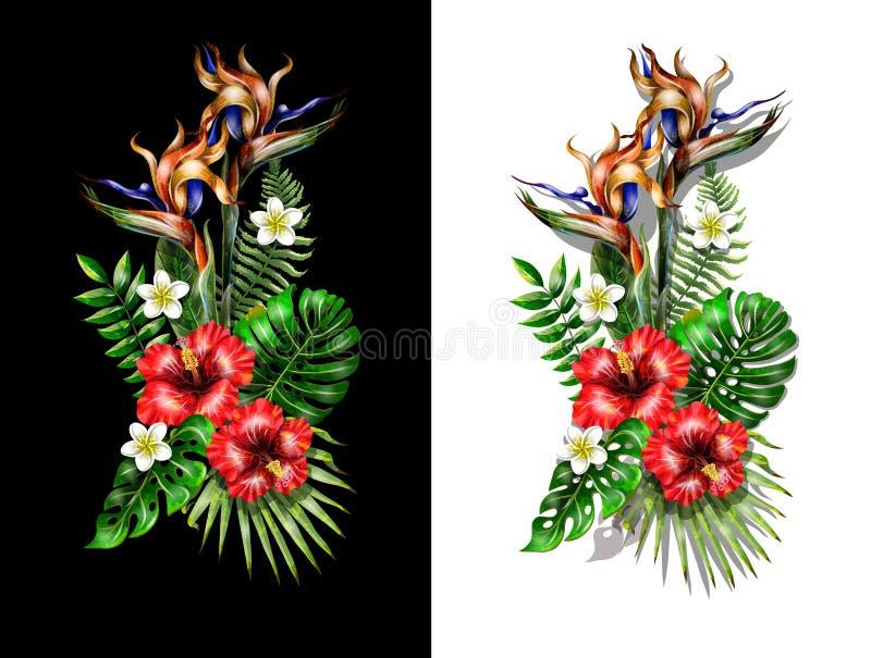 Tropisch boeket met heliconia, strelicia en hibiscusbloemen en tropische bladeren stock illustratie