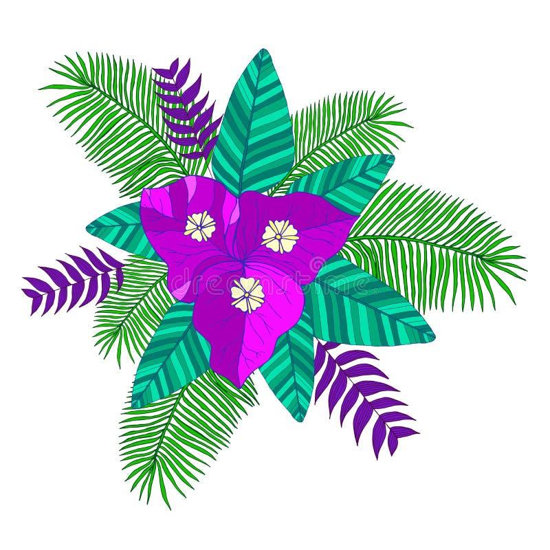 Tropisch boeket van palmbladen, bougainvilleabloem vector illustratie