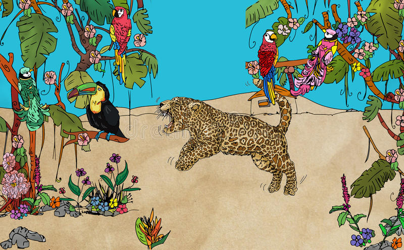 Tropisch bos met Tiger Leaping royalty-vrije illustratie