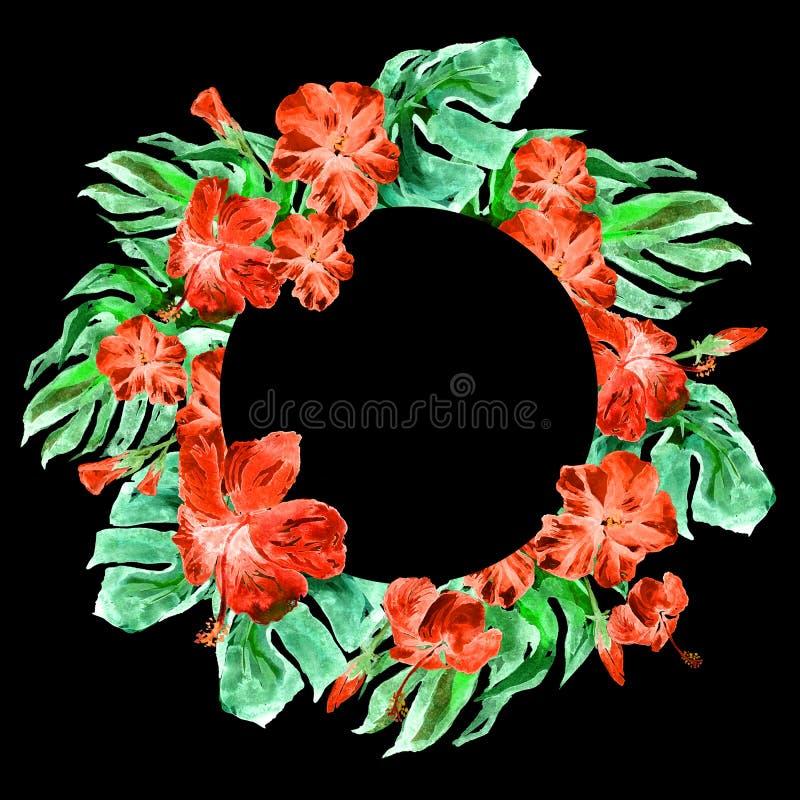 Tropisch Cirkelkader met Hibiscus en Monstera-Motief van de Waterverf het Hand Geschilderde Tropische Zomer met Hibiscus stock afbeeldingen