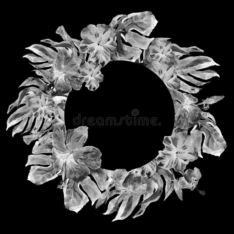 Tropisch Cirkelkader met Hibiscus en Monstera-Motief van de Waterverf het Hand Geschilderde Tropische Zomer met Hibiscus royalty-vrije stock foto's