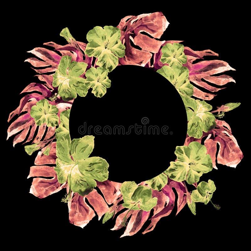 Tropisch Cirkelkader met Hibiscus en Monstera-Motief van de Waterverf het Hand Geschilderde Tropische Zomer met Hibiscus stock fotografie