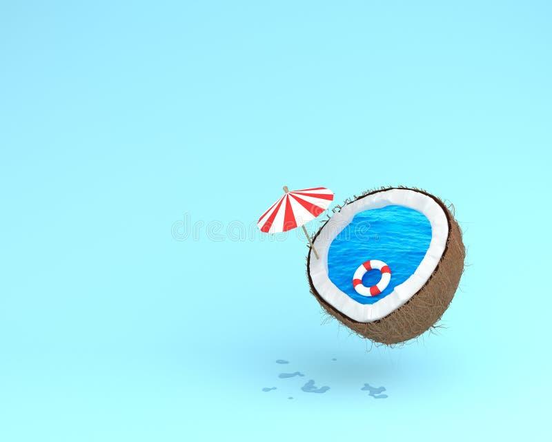 Tropisch das Strandkonzept gemacht von der Kokosnuss mit Poolfloss und s lizenzfreie stockfotos