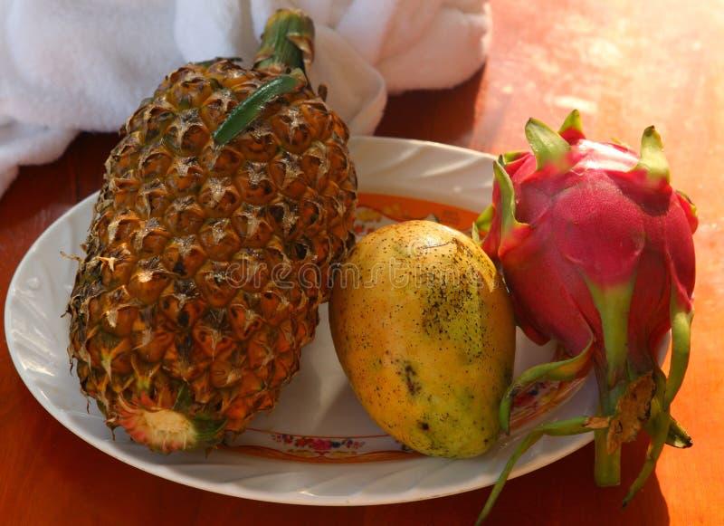 Tropisch de mango rambutan geheel van de fruitananas op de plaat stock foto