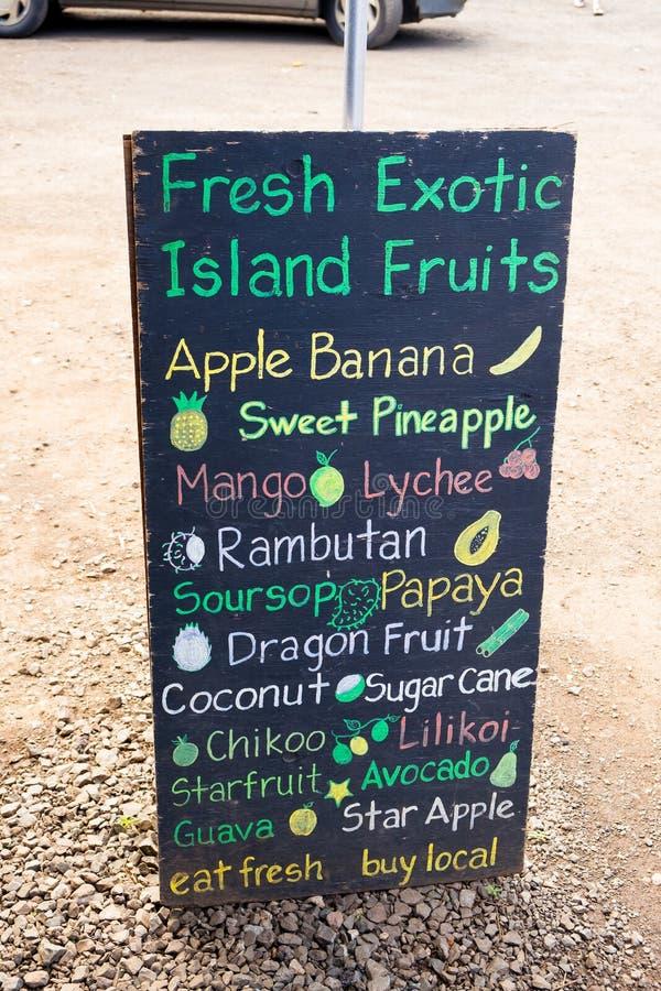 Tropisch de Marktteken van Fruitlandbouwers in Hawaï royalty-vrije stock afbeelding