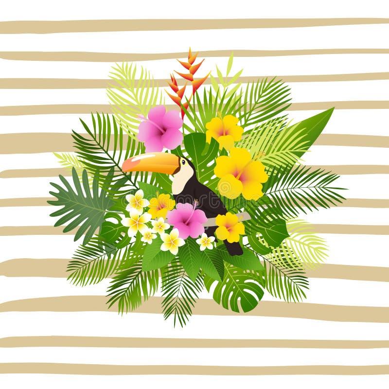 Tropisch de zomerontwerp Prentbriefkaar of affiche met toekan, palmbladen, tropische installaties, bloemen stock illustratie