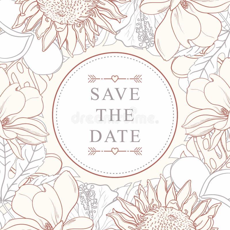 Tropisch die bloemenkader voor huwelijksuitnodiging op witte achtergrond wordt geïsoleerd stock illustratie