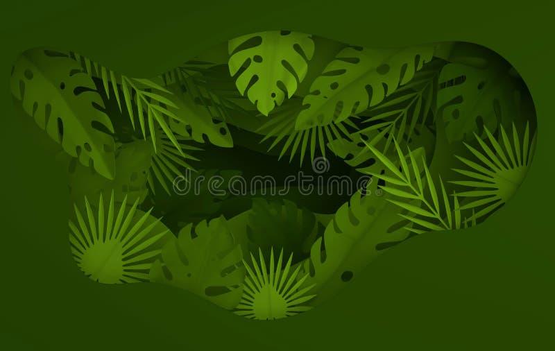 Tropisch document palmbladenkader De zomer tropisch groen blad Gebladerte van de origami het exotische Hawaiiaanse wildernis, zom royalty-vrije illustratie
