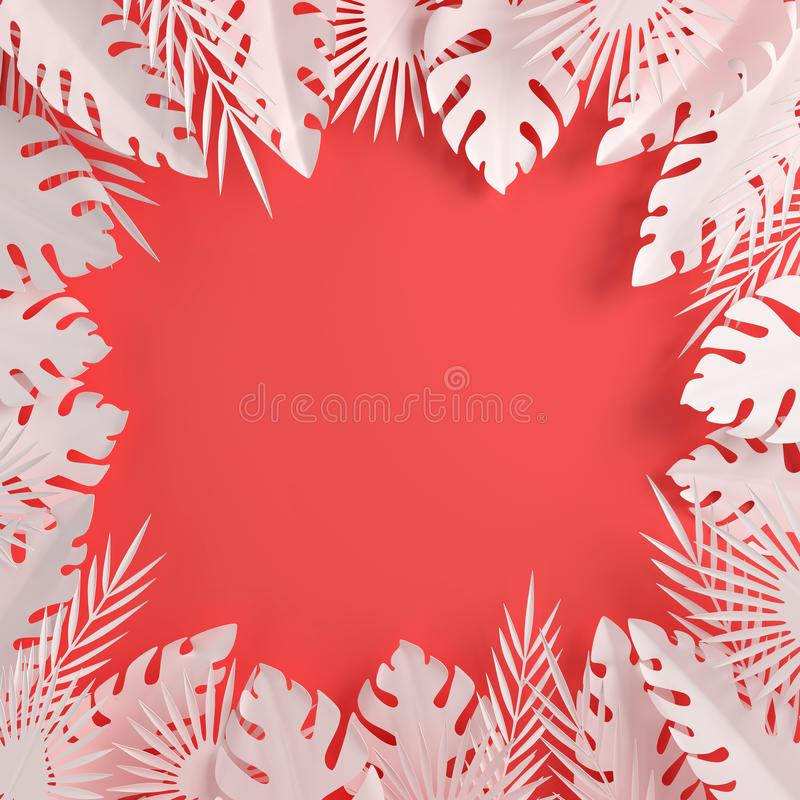 Tropisch document palmbladenkader Tropische de zomer wit blad Gebladerte van de origami het exotische Hawaiiaanse wildernis, zome royalty-vrije illustratie