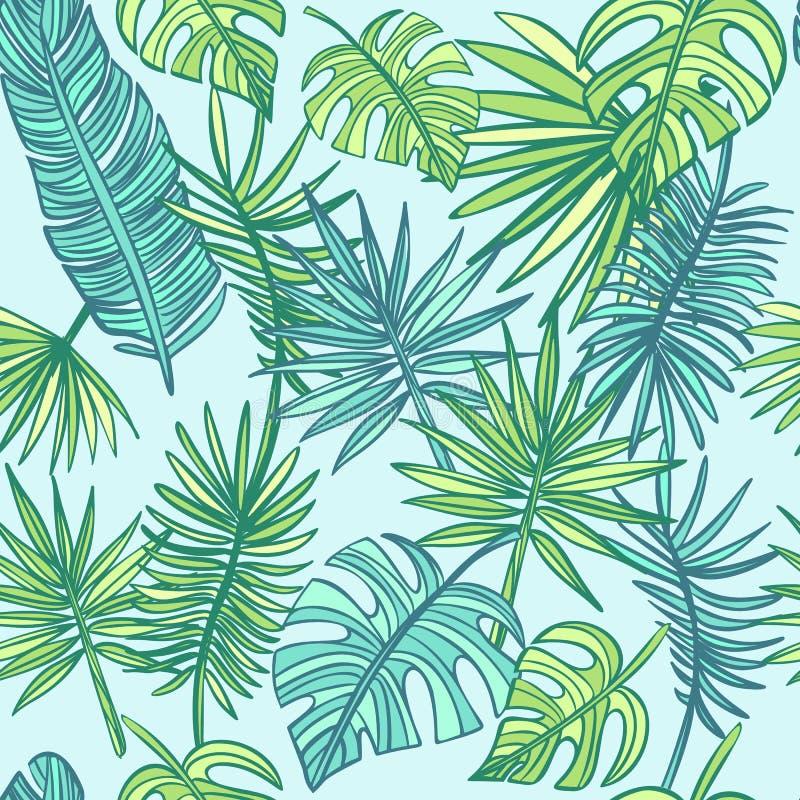Tropisch doorbladert achtergrond De zomerpatroon vector illustratie