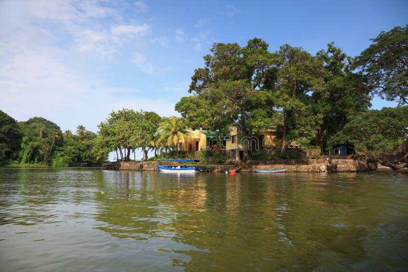 Tropisch dorp stock foto's