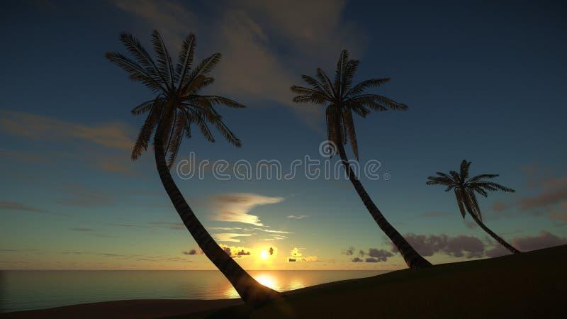 Tropisch eiland bij verbazende zonsondergang royalty-vrije illustratie