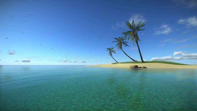 Tropisch eiland in de Turkooise oceaan royalty-vrije illustratie