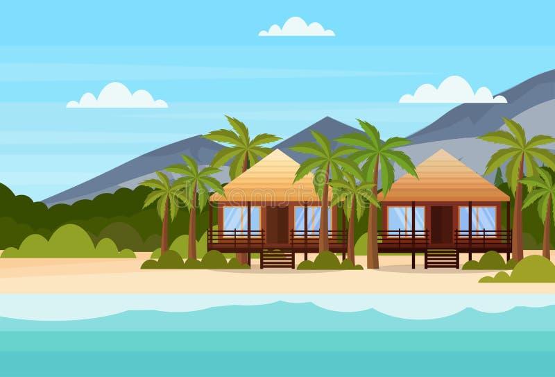Tropisch eiland met het hotel van de villa'sbungalow op van de berg groen palmen van de strandkust van de het landschapszomer vla stock illustratie