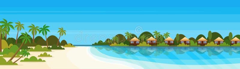 Tropisch eiland met het hotel van de villa'sbungalow op van het de palmenlandschap van de strandkust het groene vlakke concept va vector illustratie