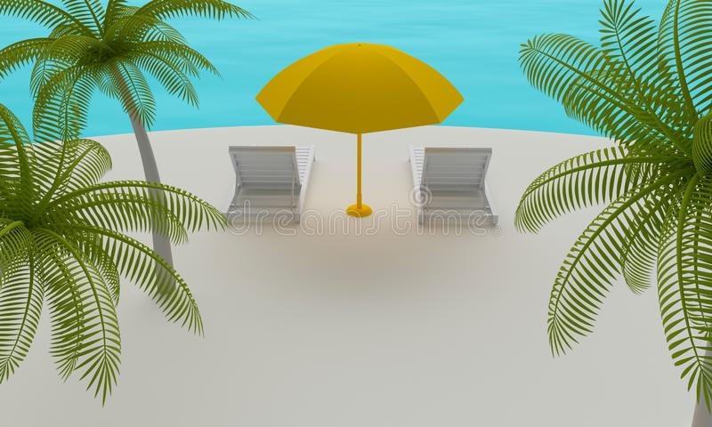 Tropisch eiland met Ligstoel en paraplu het 3d teruggeven vector illustratie