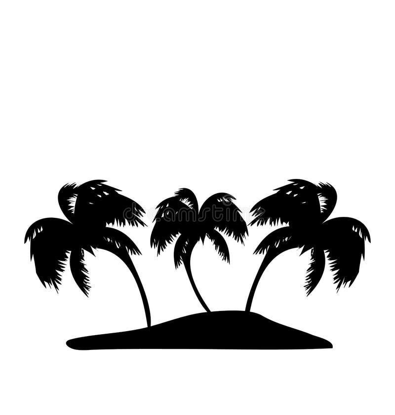 Tropisch eiland met palmensilhouet vector illustratie
