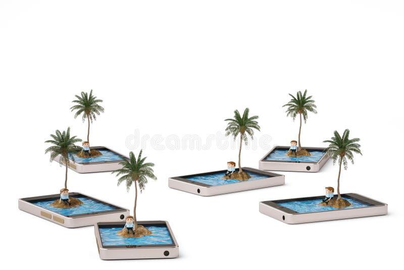 Tropisch eiland op mobiel telefoon eenzaam concept 3D Illustratie stock illustratie