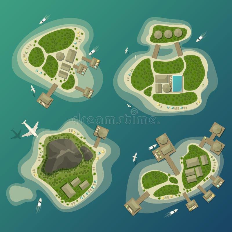 Tropisch eilanden hoogste mening, reis en toerismeteken stock illustratie