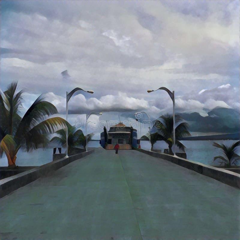Tropisch eilandlandschap met veerboot in het schilderen stijl royalty-vrije illustratie