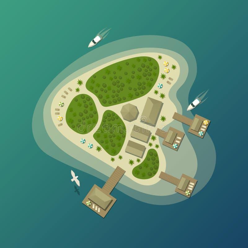 Tropisch eilandstrand of de hoogste mening van het paradijseiland royalty-vrije illustratie