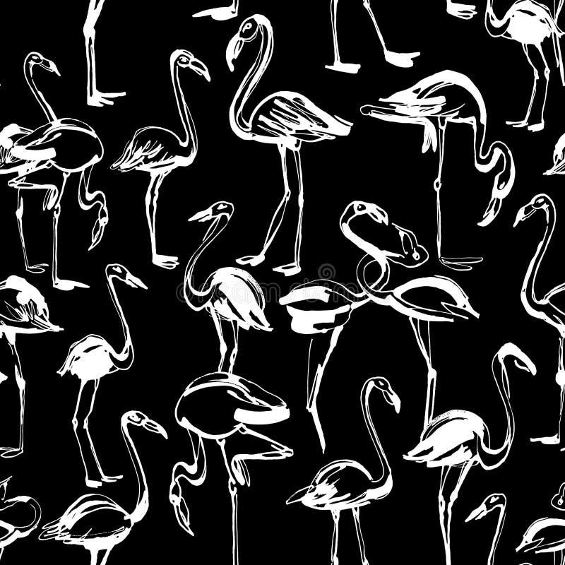 Tropisch exotisch de zomer naadloos patroon van vogelsflamingo's Zwarte a stock illustratie
