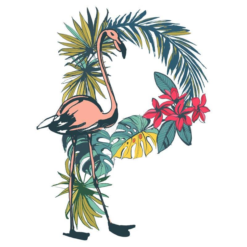 Tropisch exotisch de zomer naadloos patroon van vogelsflamingo's Zwarte a royalty-vrije illustratie