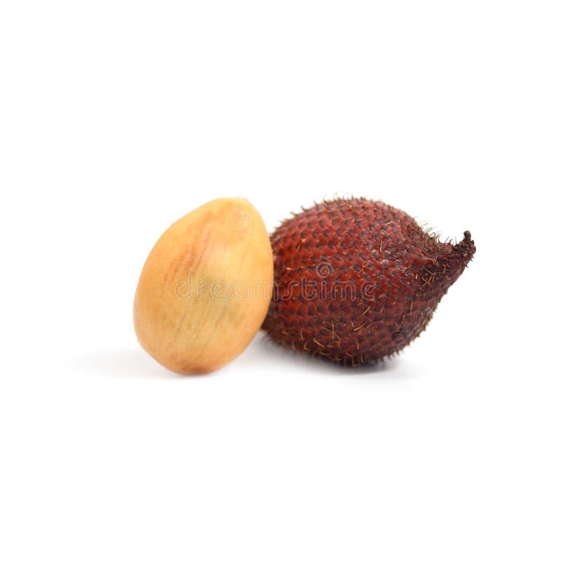 Tropisch fruit: Het fruit van de Salakslang op witte achtergrond wordt geïsoleerd die stock fotografie