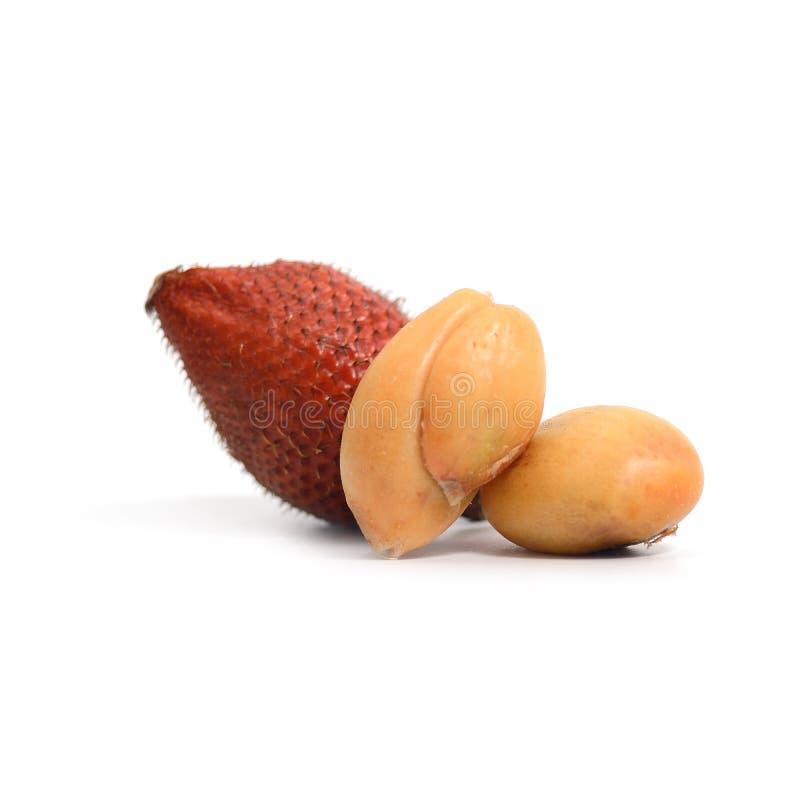 Tropisch fruit: Het fruit van de Salakslang op witte achtergrond wordt geïsoleerd die stock afbeelding