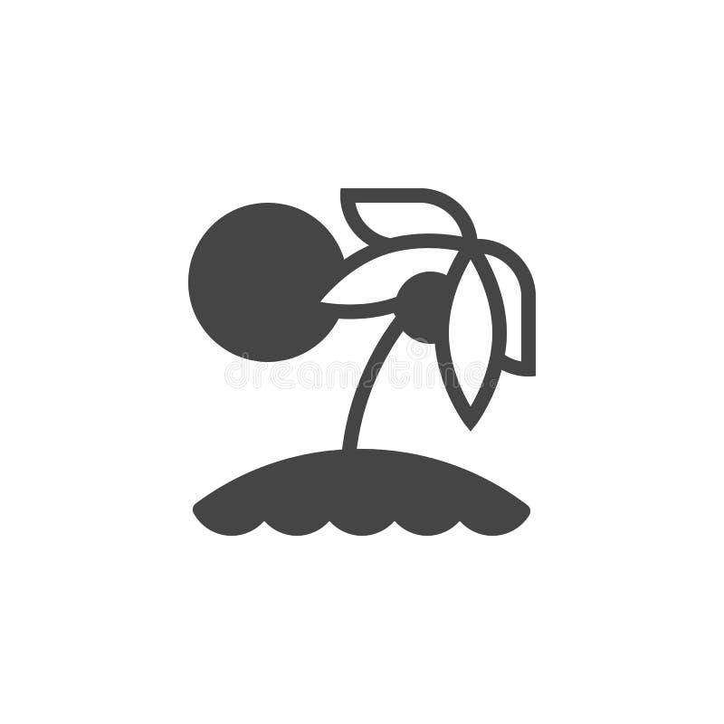 Tropisch geïsoleerd eiland glyph pictogram Vakantie op strand vlak etiket Exotisch toerisme, vakantie, vrije tijd, reisthema stock illustratie