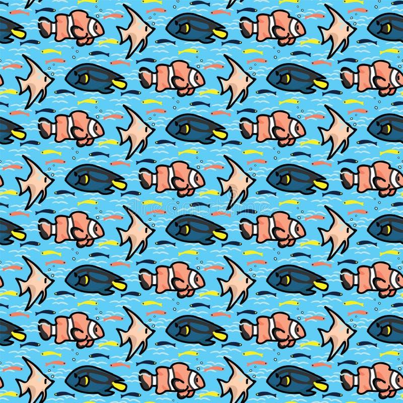 Tropisch het beeldverhaal naadloos vectorpatroon van het vissensilhouet Hand getrokken oceaan het levenstegel Overal druk voor ma vector illustratie