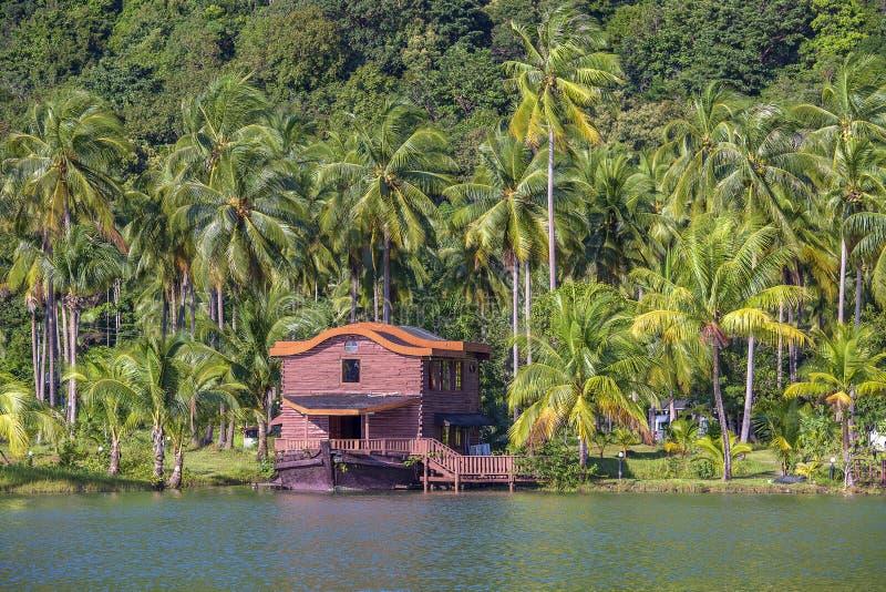 Tropisch huis in de vorm van een schip naast het overzees in de wildernis met groene palmen De toevlucht van het luxestrand op ee royalty-vrije stock fotografie