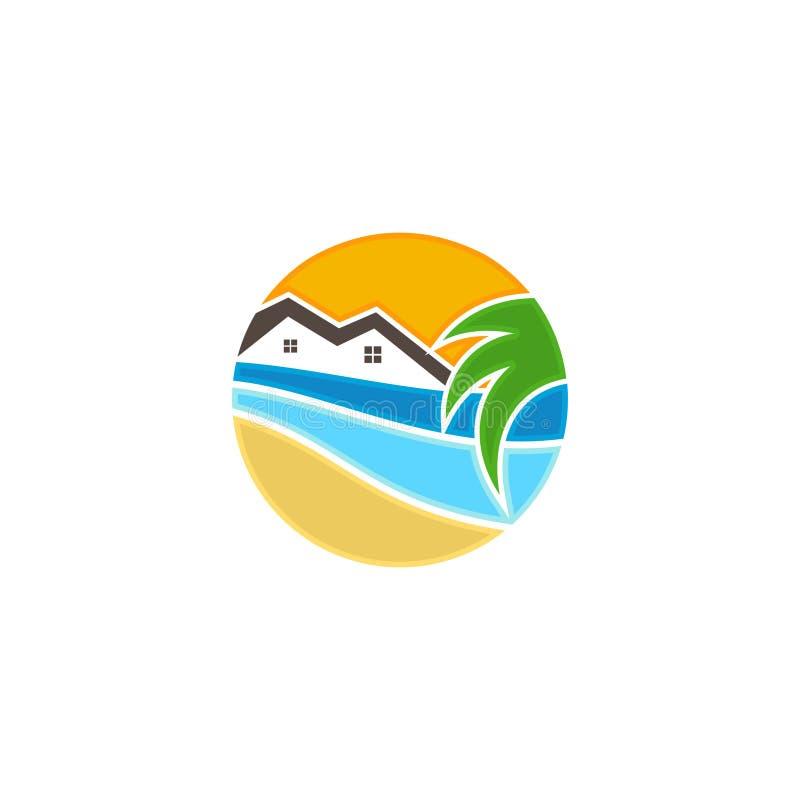 Tropisch huis met golf en kokospalmen stock illustratie