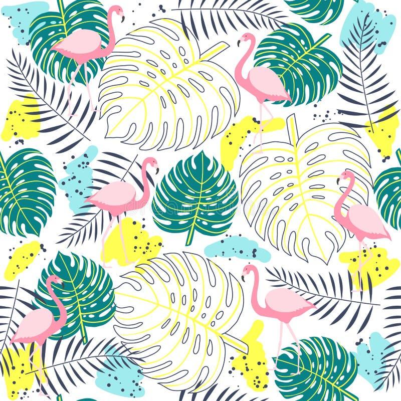 Tropisch installaties naadloos patroon met flamingo's stock illustratie