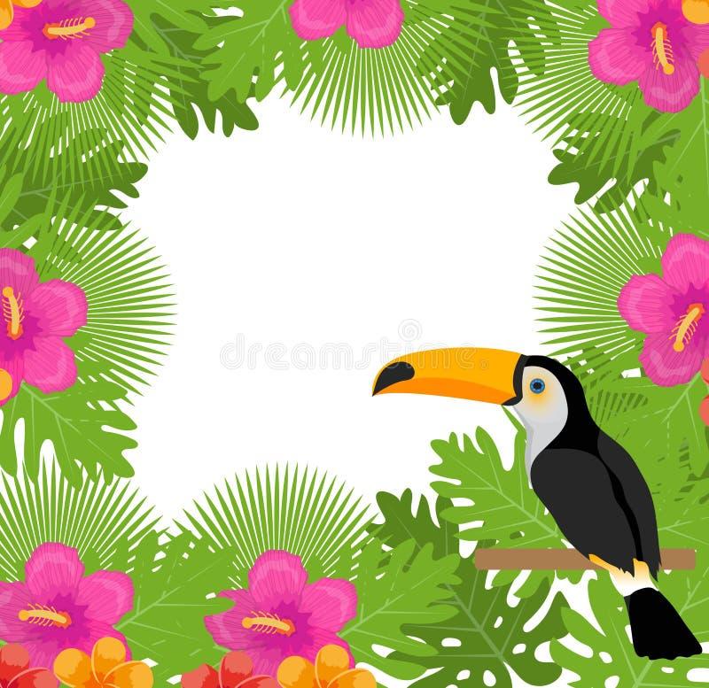 Tropisch kader met bloemen, installaties en vogeltoekan De zomer bloemenmalplaatje voor uw ontwerp Exotische achtergrond Vector vector illustratie