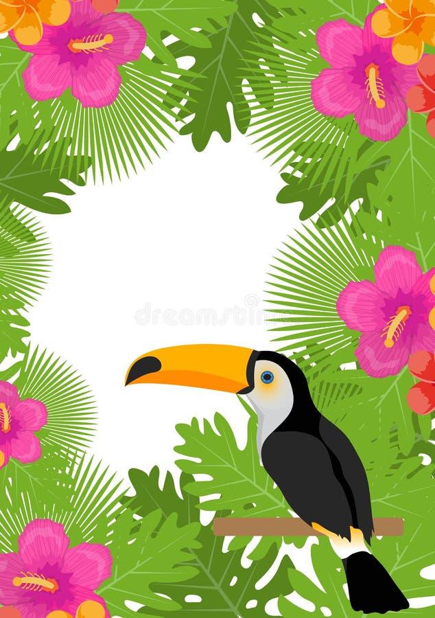 Tropisch kader met bloemen, installaties en vogeltoekan De zomer bloemenmalplaatje voor uw ontwerp Exotische achtergrond Vector royalty-vrije illustratie