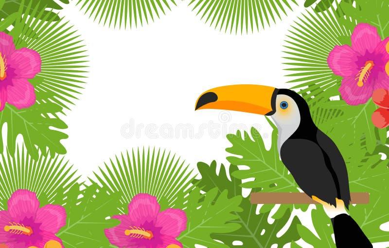Tropisch kader met bloemen, installaties en vogeltoekan De zomer bloemenmalplaatje voor uw ontwerp Exotische achtergrond Vector stock illustratie