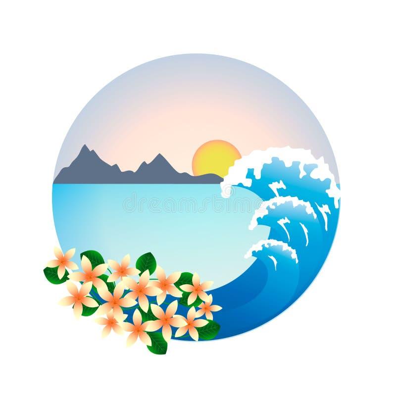 Tropisch landschap in een rond kader Bergen en zon, overzeese golf en tropische bloemen Vector stock illustratie