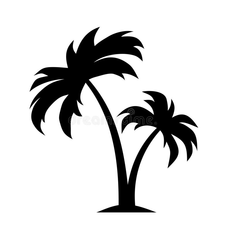 Tropisch Landschap Vector zwart silhouet stock illustratie