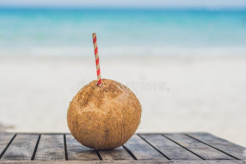 Tropisch Landschap verse kokosnoot met een stro op een zandig strand royalty-vrije stock fotografie