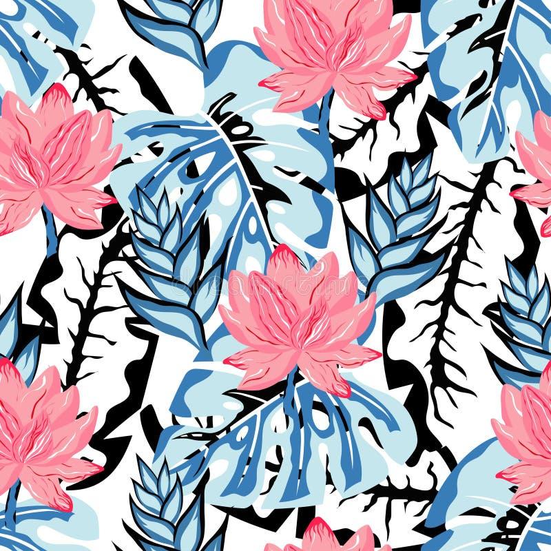 Tropisch lotusbloempatroon royalty-vrije illustratie