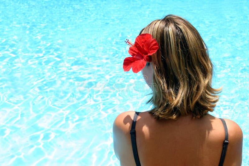 Tropisch Meisje door Pool stock foto