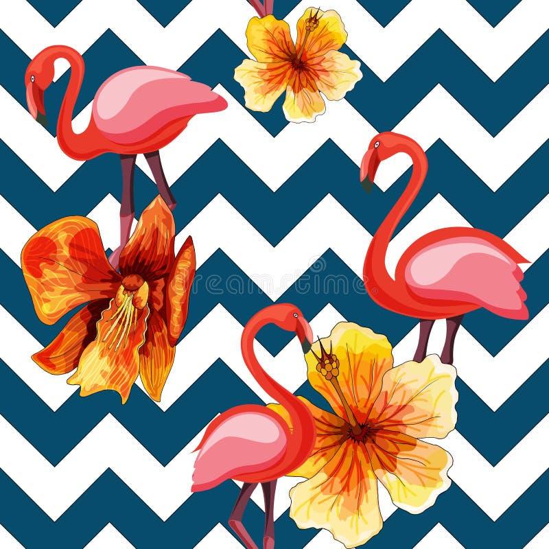 Tropisch modern naadloos patroon met roze flamingo's en bloemen op meetkunde vector illustratie
