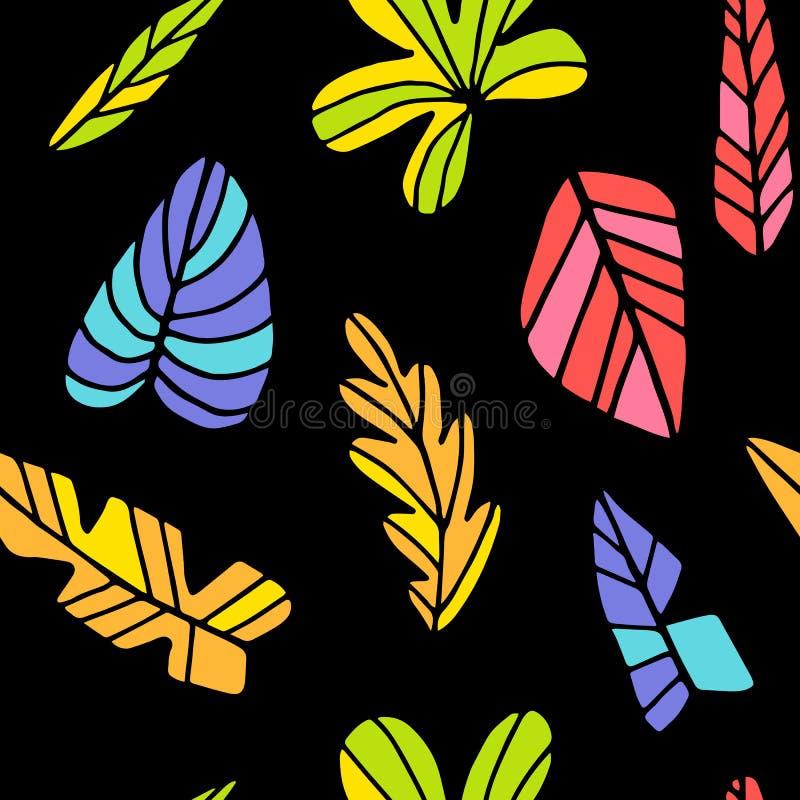 Tropisch naadloos bladerenpatroon vector illustratie