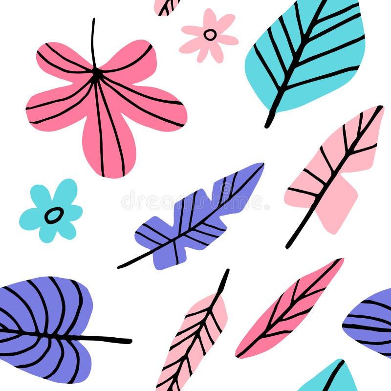 Tropisch naadloos bladerenpatroon royalty-vrije illustratie