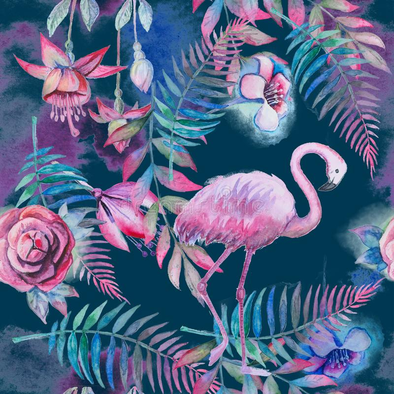 Tropisch naadloos bloemenpatroon met waterverfpalmbladen, bloemen en roze flamingo Purpere, roze en groene textuur vector illustratie
